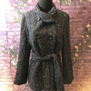 Gerard Darel Wool Blend Nubby Tweed Jacket 42